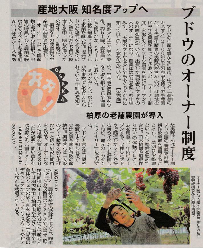 毎日新聞「OSAKAおお!」記事